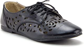 Women's Stacy-25 Lace Up Perforated Oxfords Laser Cut Designer Dress Shoes