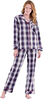 Button Down Pajamas for Women - Cotton Plaid, Blue/Red