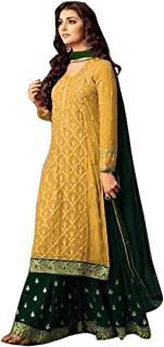 Online Super Store Women Georgette Embroidered anarkali Semi Stitched Plazoo Suit-2020