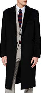 The Platinum Tailor Mens Black Overcoat Wool & Cashmere Warm Winter Mod Cromby Long Coat Black Lining