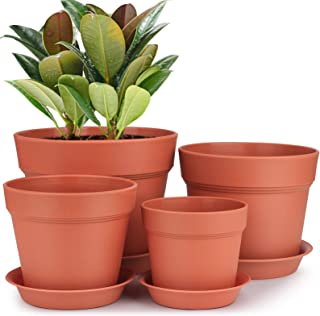 HOMENOTE Plastic Plant Pots, 7/6/5/4 inch Indoor Flower Pots Set of 4 with Drainage Trays Modern Round Pots for Plants Flo...