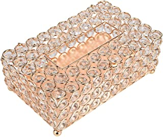 """Anferstore Crystal Tissue Box Cover Rectangular-Decorative Tissue Box Cover Tissue Holder-Crystal Napkins Container-for Elegant Décor(7.87"""" x 4.6"""" x 3.75"""") (Gold, Round)"""