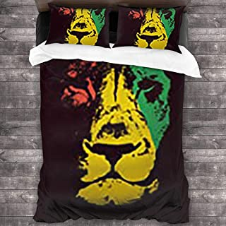 3-Pieces Bedding Sets Queen 100% Microfiber ,twin Bedding Sets,1 Quilt Cover(86x70 Inch)+ 2 Pillow(20x30 Inch) Marley Green Lion Head Rasta Wildlife Red Bob Reggae Judah Jamaica Color Black Bobanimals