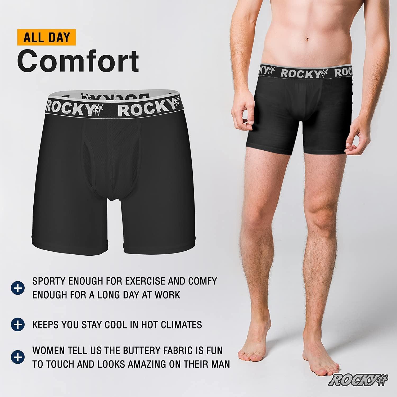 Rocky Men's Boxer Briefs 4-Way High Performance Pouch Underwear, 2-Pack Tagless