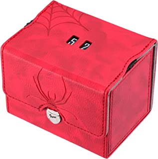 Zoopin Leather Deck Box with Built-in Spinning Life Counter,Red for MTG,Yugioh,Pokeman,TES Legacy,Munchkins CCG Decks and Also Small Tokens or Dice- Hold 80 Sleeved Cards or 150 Naked Cards …