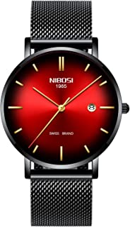 Mens Watch Ultra Thin Wrist Watches for Men Fashion Waterproof Dress Black Stainless Steel Band