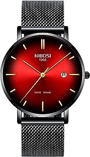 Mens Watch Ultra Thin Wrist Watches Fashion Waterproof Dress Stainless Steel Strap