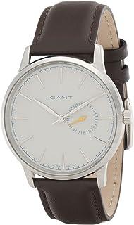 ساعة من غانت ستانفورد للرجال بمينا رمادي وسوار من الجلد وشاشة انالوج، طراز G Gww048006