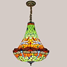 Tiffany Style Stained Glass Dragonfly Chandelier,European Style Large Pendant Lighting, Retro Hanging Lamps Ceiling Light ...