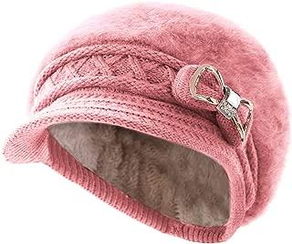 Surblue Lady Crystal Bow Warm Cabled Angora Knit Winter Beanie Crochet Beret Hats Newsboy Caps