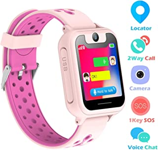 Kids Smart Watch Phone, LBS/GPS Tracker Smart Watch for 3-12 Year Old Boys Girls with SOS Camera Sim Card Slot Touch Screen Game Smartwatch Outdoor Activities Toys Birthday Gift