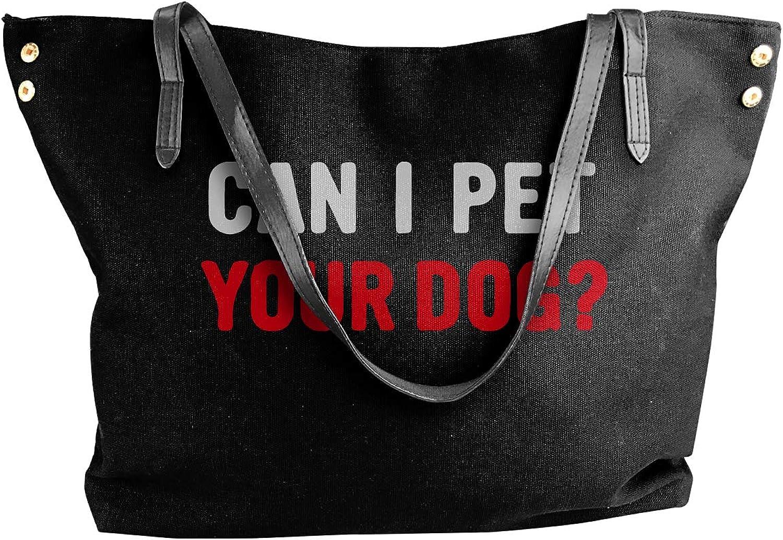 Can I Pet Your Dog Women'S Leisure Canvas Shoulder Bag For School Big Shopping Bag