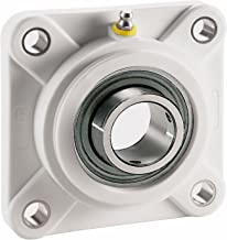 """System Plast UCFQ205-16-NC 4-Bolt Flange Bearing, White Nolu-Clean Housing with 1"""" Bore Diameter"""