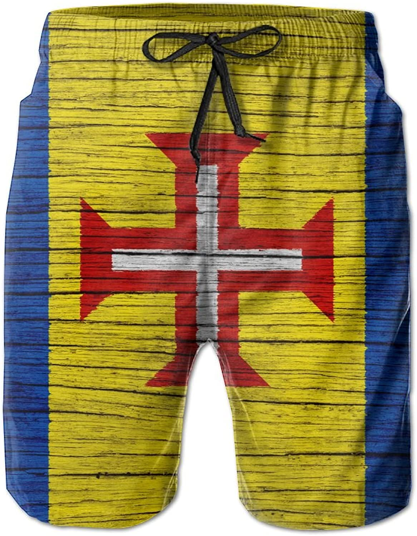 HFSST Flag of Madeira Wooden TextureHandsome Fashion Summer Cool Shorts Swimming Trunks Beachwear Beach Shorts