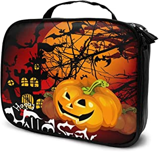 Cosmetic Bag Halloween Pumpkin Background Makeup Bag Lightweight Portable Cosmetic Case Water Resisted Cosmetic Makeup Bag Durable Organizer Makeup Boxes With Insulated Pockets For Travel
