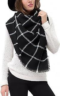 Afibi Women's Winter Cozy Plaid Checked Tartan Blanket Scarf Wrap Shawl