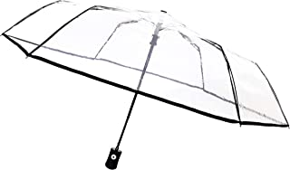 SMATI Clear Folding Umbrella - Compact - Automatic Open - Sturdy - Black cats - French Design (Clear)