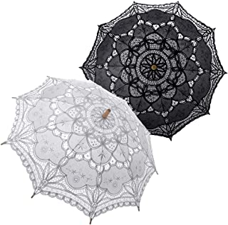 TopTie Lace Umbrella Parasol Wedding Bridal Photograph For Decoration Halloween Costume Accessories-white black