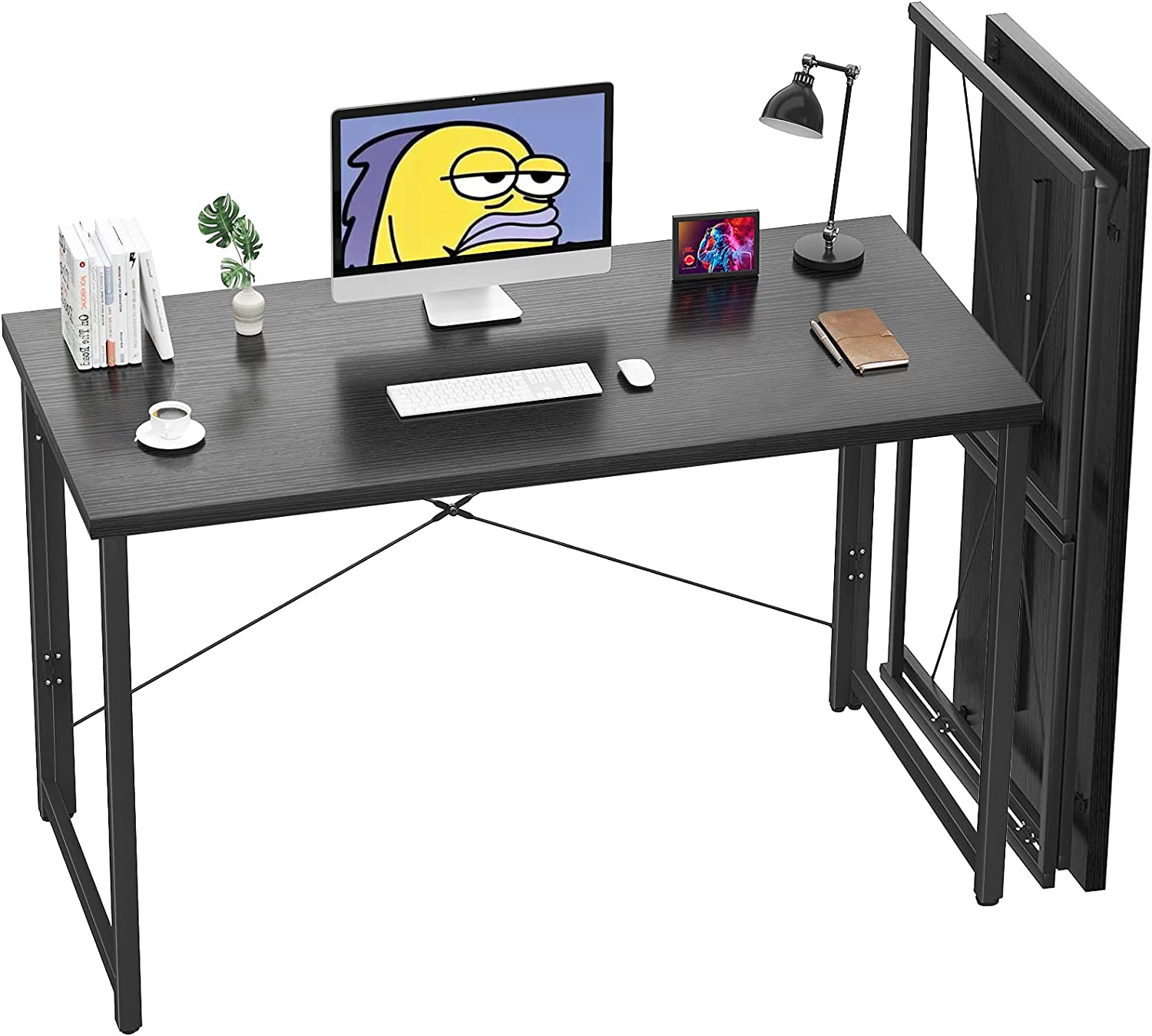 Unikito Folding Computer Desk 41 Inch No Assembly Small Work Desk for Home Office Simple Writing Desk Foldable Desk for Small Spaces, Workstation | Black