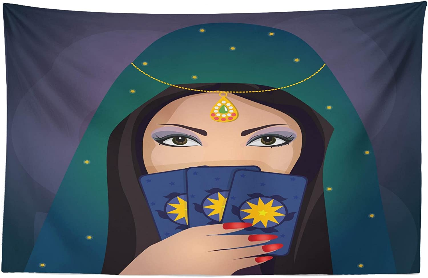 Lunarable Gypsy Tapestry, Fortune Teller Woman with a Shawl Holding Tarot Cards Mysterious Young Lady Portrait, Fabric Wall Hanging Decor for Bedroom Living Room Dorm, 45