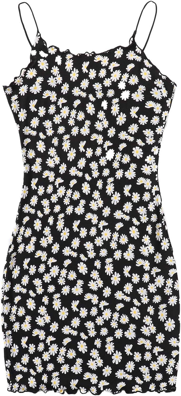 Milumia Women's Boho Daisy Floral Print Spaghetti Strap Bodycon Pencil Mini Cami Dress