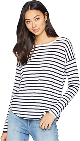 Slub Stripe Long Sleeve Drop Shoulder Tee