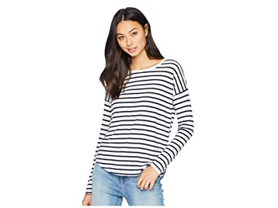 Splendid Zander Long Sleeve Cotton Modal Slub Striped Easy Crew Tee (Navy/Off-White) Women