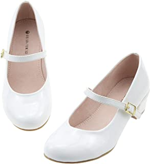 Sponsored Ad - LseLom Girls Dress Shoes Low Heel Mary Jane Princess Hook and Loop Dance Shoes Party Wedding Flats for Litt...
