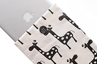 Kuzy 28 Giraffe BLACK/WHITE Handmade Cotton Sleeve Cover 13-Inch for Macbook PRO 13-Inch and MacBook Air 13-Inch and White MacBook (fits MacBook with or w/out Retina Display)