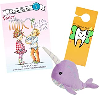 Tooth Fairy Kit - Plush Narwhal Tooth Fairy Figure with Pocket by Masion Chic, Tooth Fairy Book Fancy Nancy and The Too Loose Tooth & Door Hanger for Girls About to Loose Their First Tooth