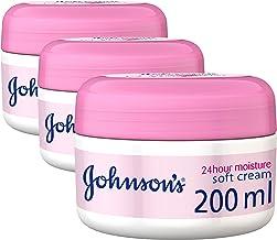 JOHNSON'S, Body Cream, 24 HOUR Moisture, Soft, 200ml, Pack of 3