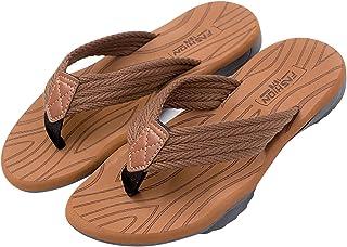 InnerSetting Flip Flops Sandal Summer Slip-on Men Flat Thongs Sandals (Yellow 41-42)