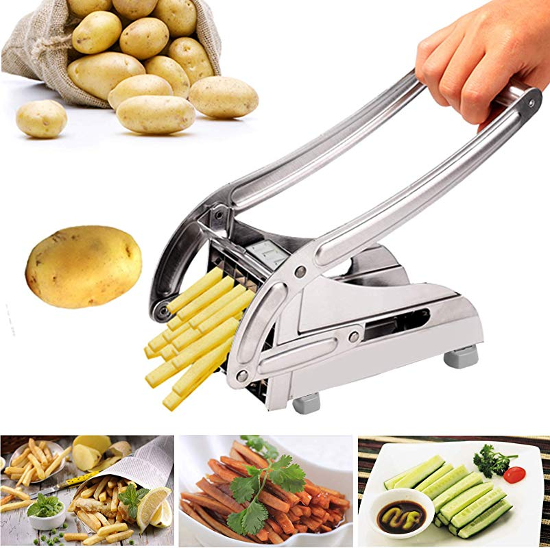 Korie Stainless Steel French Fry Cutter With 2 Interchangeable Cutting Blades For Potatoes Carrots Cucumbers And More