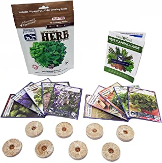 Culinary Herb Seeds Outdoor & Indoor Herb Garden Kit - 10 Herb Garden Seeds for Planting & 8 Instant Soil Pucks - Basil Se...