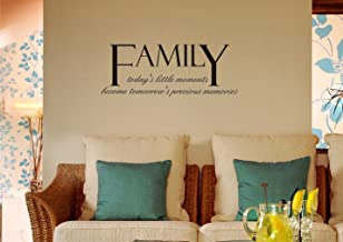 Family: today's little moments becomes tomorrow's precious memories Vinyl wall art Inspirational quotes and saying home decor decal sticker steamss