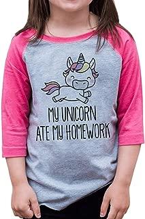 Funny Girls Unicorn Ate My Homework School Baseball Tee Pink
