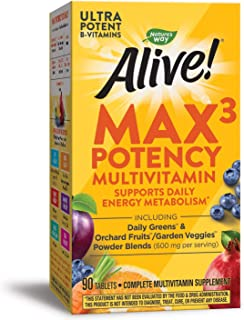 Nature's Way Alive! Max3 Potency Multivitamin, High Potency B-Vitamins, 90 Tablets