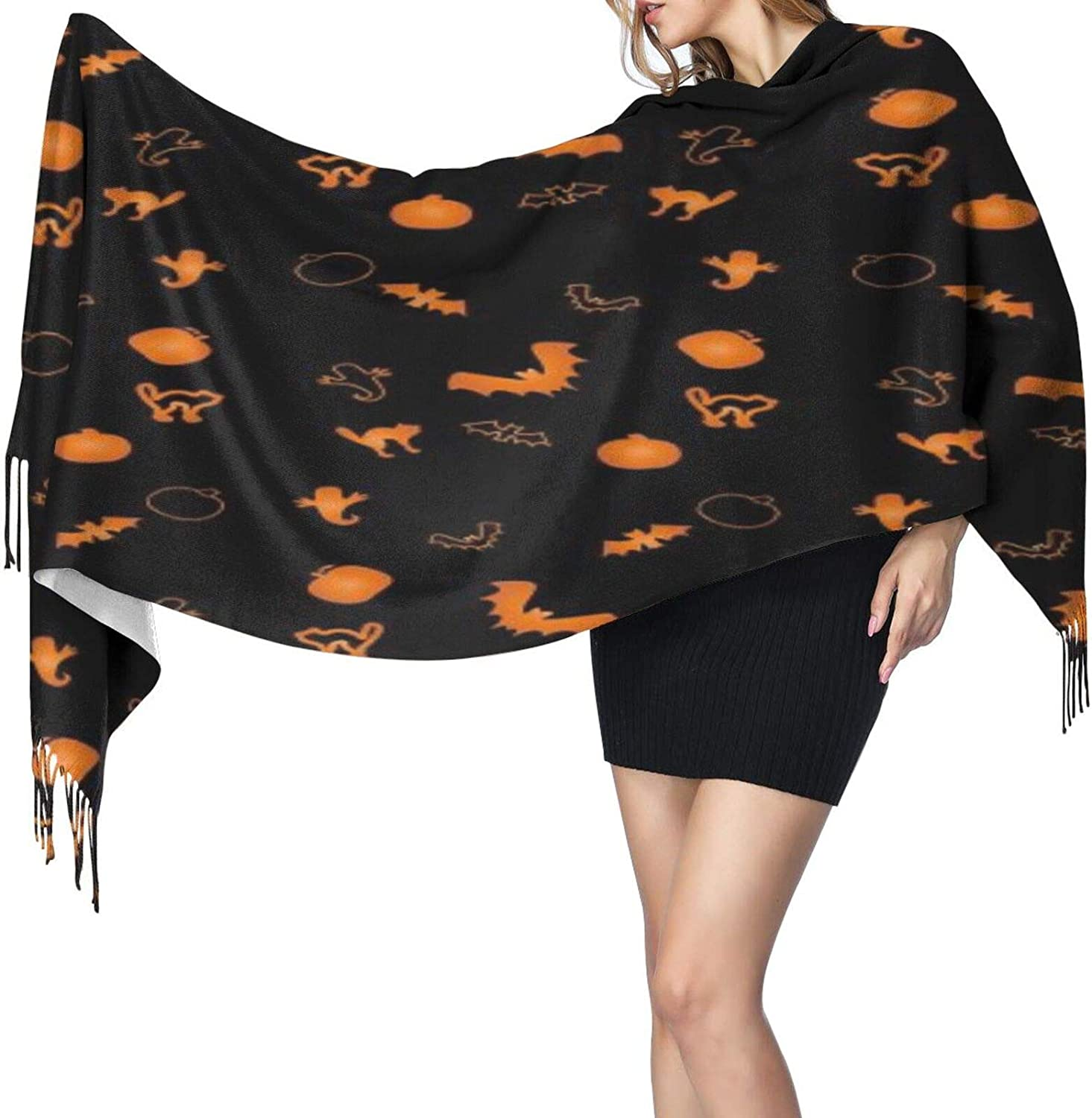 Cashmere fringed scarf Vintage Halloween winter extra large scarf