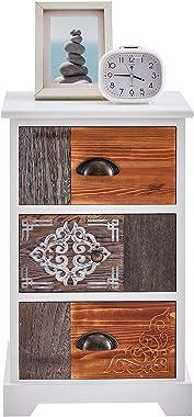 IDIMEX Chiffonnier Tara Table de Chevet Commode avec 3 tiroirs en Bois de Paulownia Style Vintage Exotique Oriental avec grav