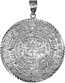 Sterling Silver Aztec Mayan Sun Calendar Extra Large Pendant (XL/XXL)