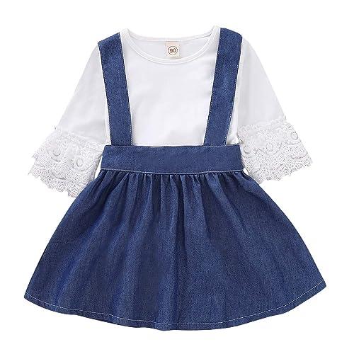 c3dc84816b3 Toddler Baby Girl Denim Dresses Lace T-Shirt Suspender Skirt Set