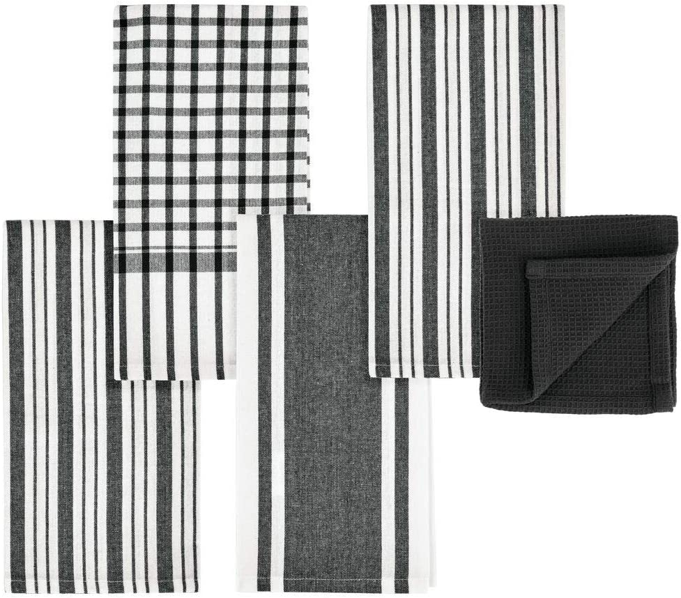 Cabinets or Hang on Racks 100/% Cotton Set of 3 Black Striped Pattern mDesign Kitchen Towel Set Store in Drawers