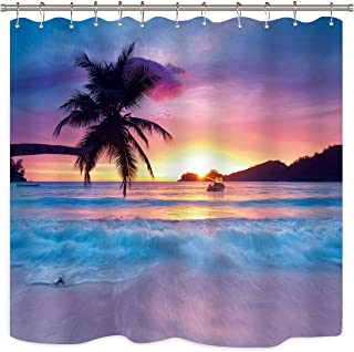 Riyidecor Beach Shower Curtain Ocean Sunrise Tropical Palm Tree Island Hawaiian Sunset Sea Waves Summer Bathroom Home Decor Set Waterproof Polyester 72X72 Inch 12 Pack Plastic Hooks