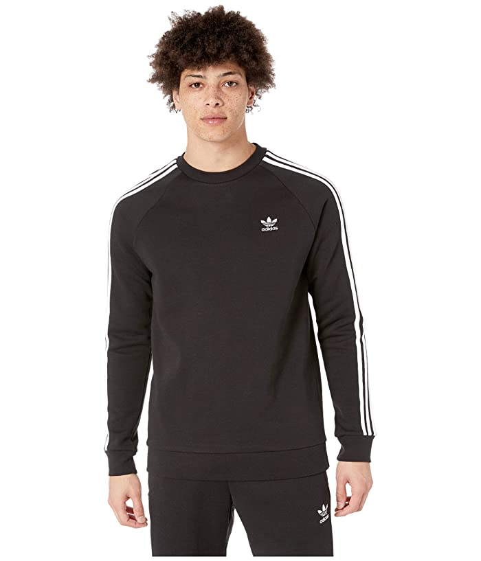 adidas Originals  3-Stripes Crew (Black) Mens Short Sleeve Pullover