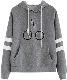 Hanyixue Mujeres Camisetas Manga Larga Varsity Gafas de Harry Potter Encapuchado Camisa de Entrenamiento Sudaderas con Cap...