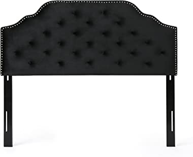 Christopher Knight Home Silas Velvet Headboard, Queen / Full, Black / Black