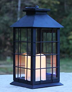 Seraphic Black Metal Lantern with Flickering Flameless LED Candle