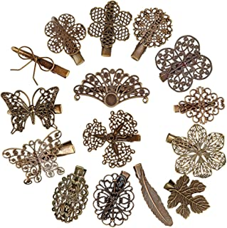 Jaciya 15pcs Minimalist Dainty Hair Clips Hollow Geometric Alloy Hairpin Clamps,Starfish, Leaf, Circle, Triangle and Moon Multiple Style (Vintage 15 Pack)