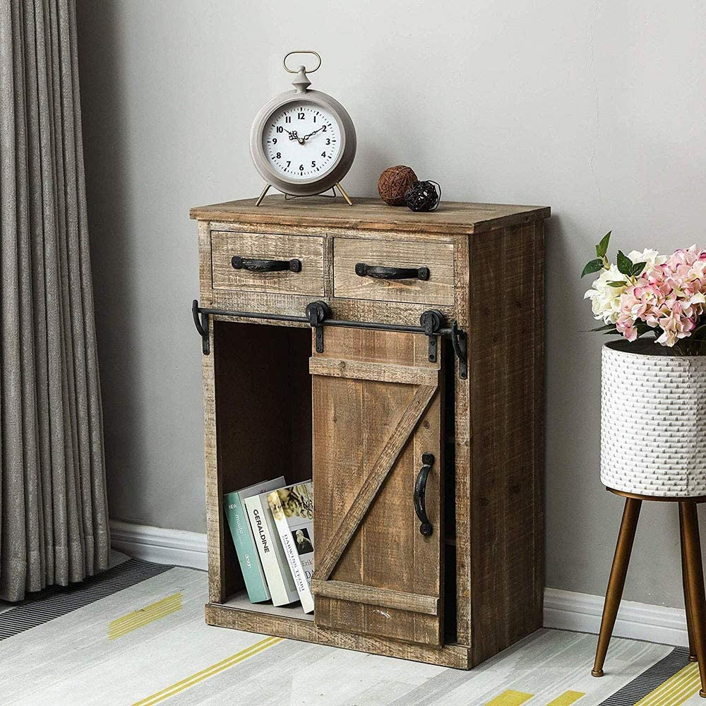 HomVent Wood End Table with excellence Barn 32''H Sliding Door Rustic Kansas City Mall