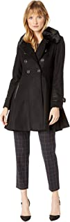 Womens Double Breasted Faux Fur Club Collar Fit 'n Flare Coat